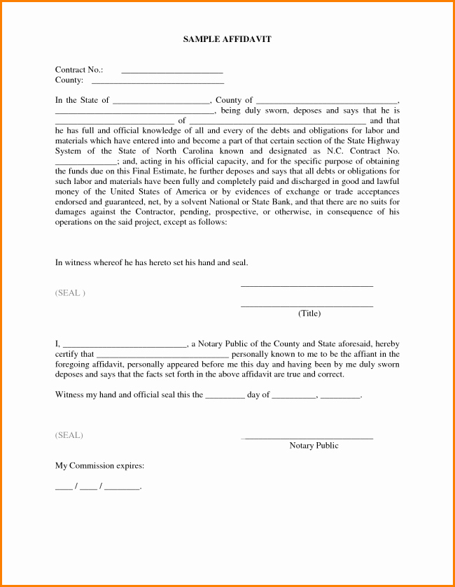 Affidavit Of Support Template New 33 Printable Affidavit form Template Examples Thogati