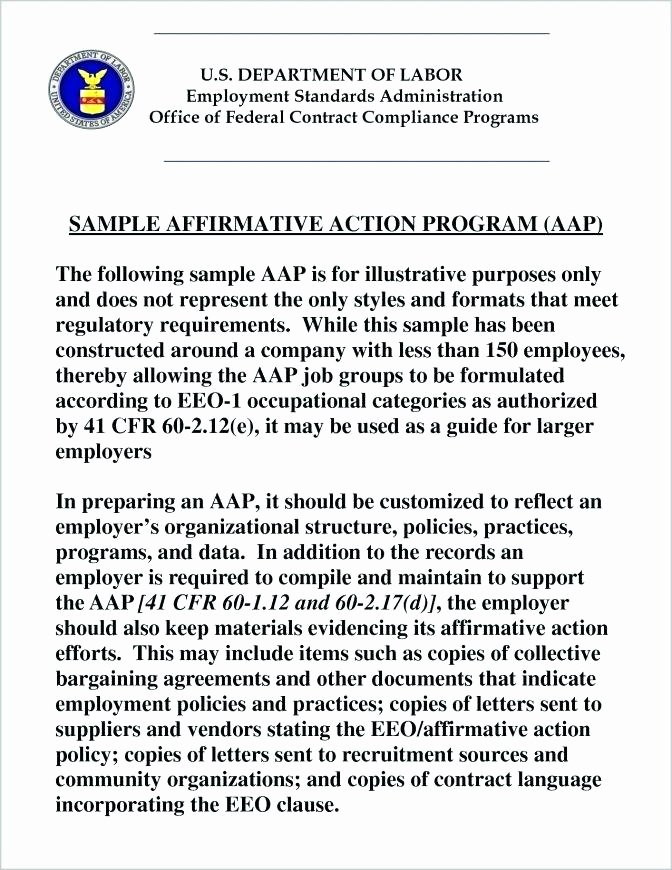 Affirmative Action Plan Template Luxury Affirmative Action Plan Template Free Templates format