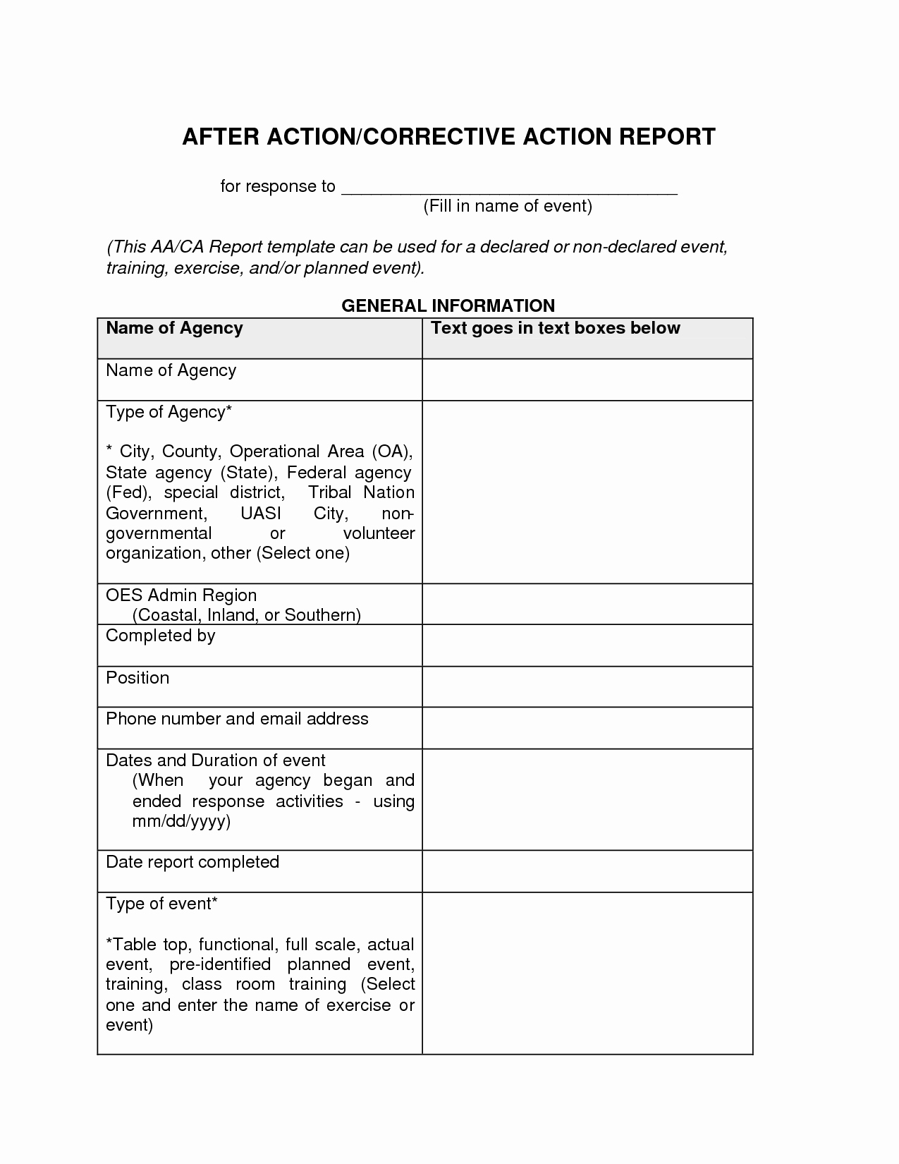 After Action Report Template Beautiful after Action Report Template