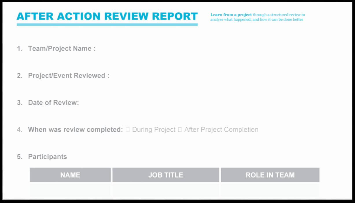 After Action Report Template Best Of after Action Review