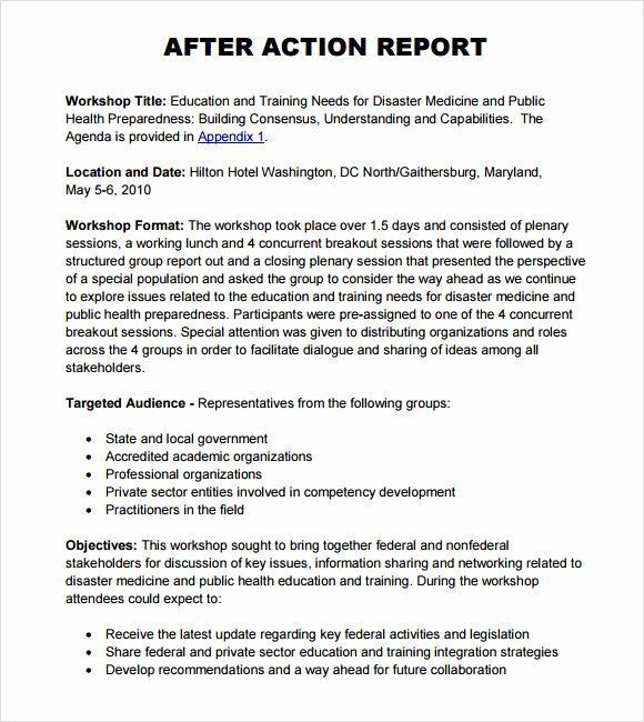 After Action Report Template Fresh 6 Sample after Action Reports
