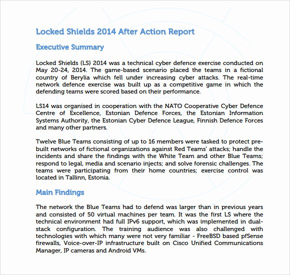 After Action Report Template Lovely 6 Sample after Action Reports