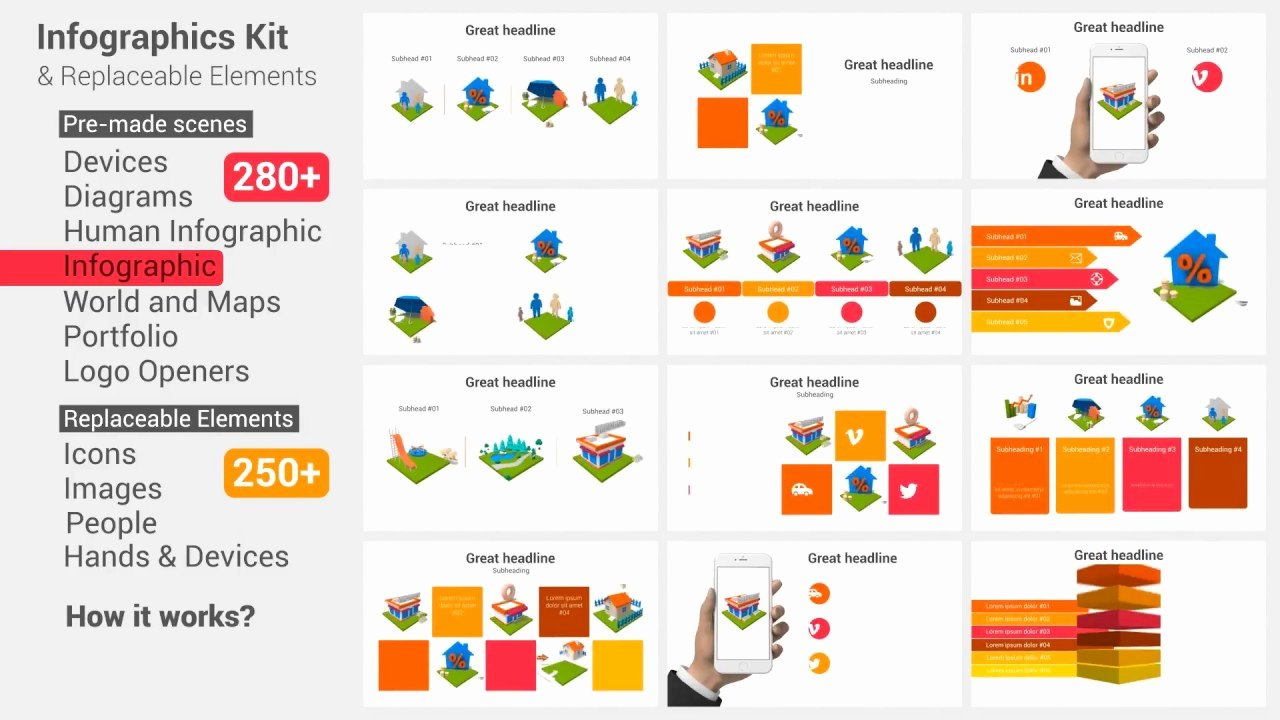 After Effects Infographic Template New Infographics Kit & Replaceable Elements Videohive after
