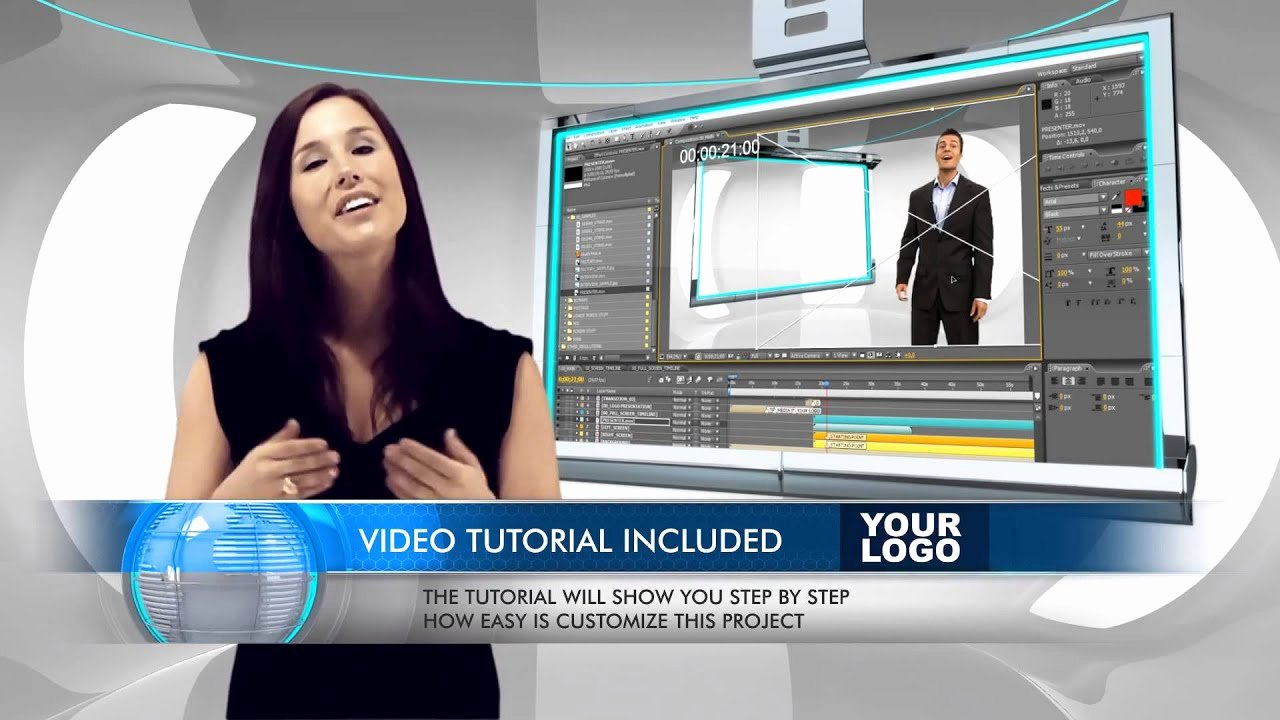 After Effects News Template Inspirational Virtual Business Television News Studio Adobe after