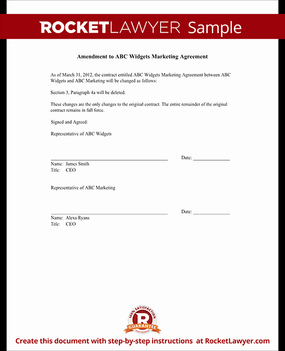 Amendment to Contract Template Best Of Contract Amendment form Template with Sample