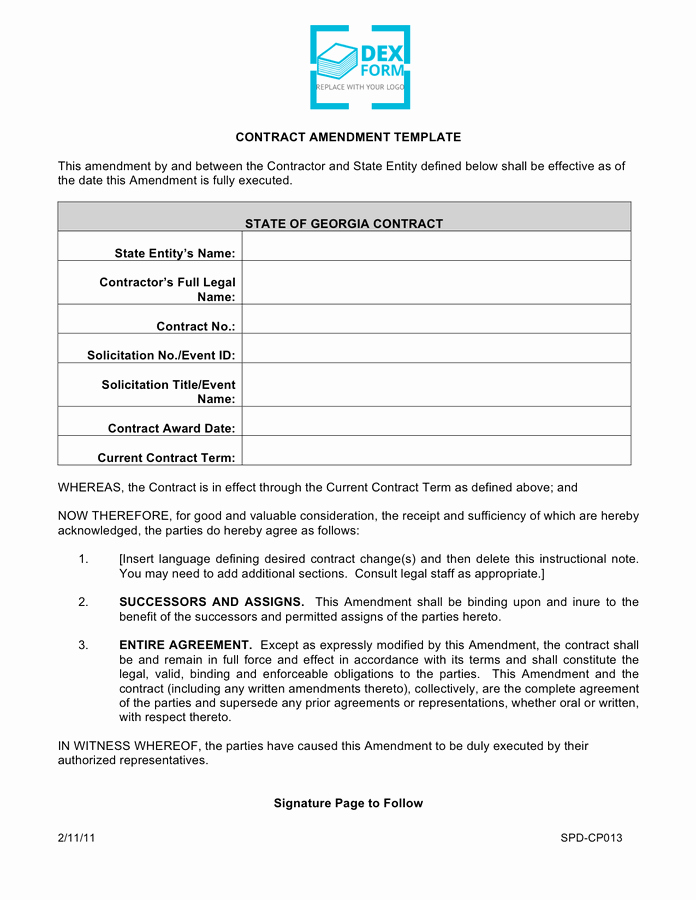Amendment to Contract Template Best Of Contract Amendment Template Free Documents for