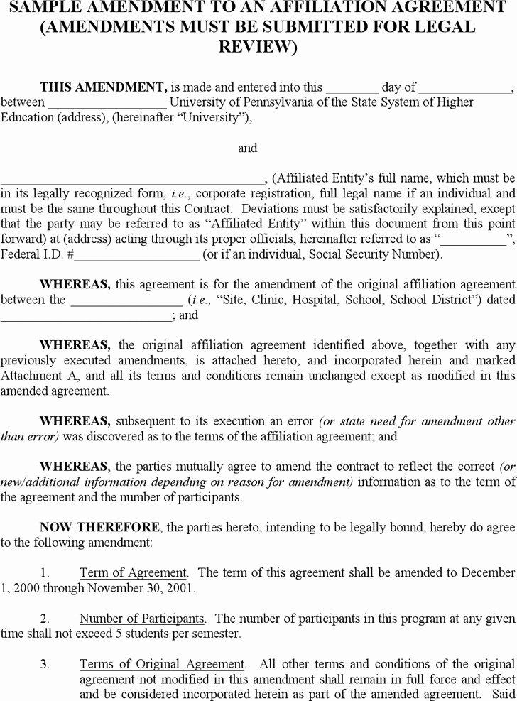 Amendment to Contract Template Fresh 3 Contract Amendment Template Free Download