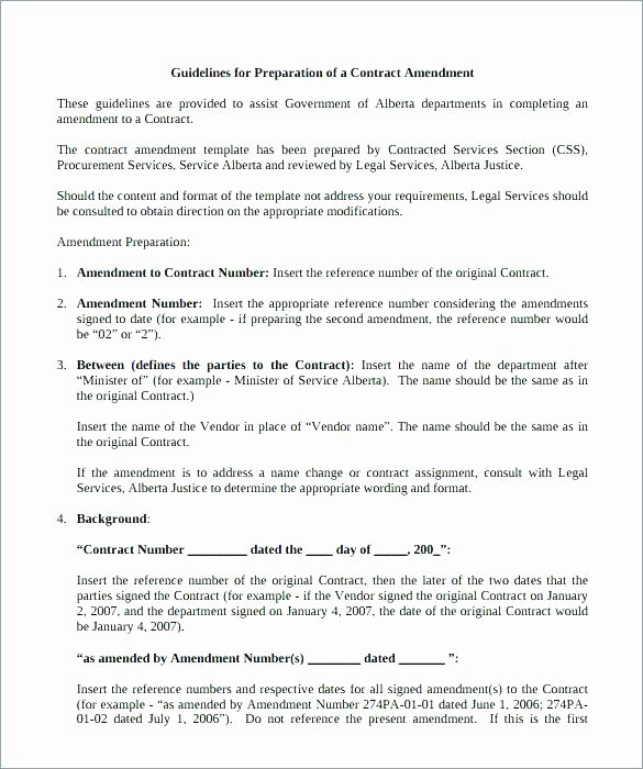 Amendment to Contract Template Inspirational Employment Contract Amendment Template Sample Short form