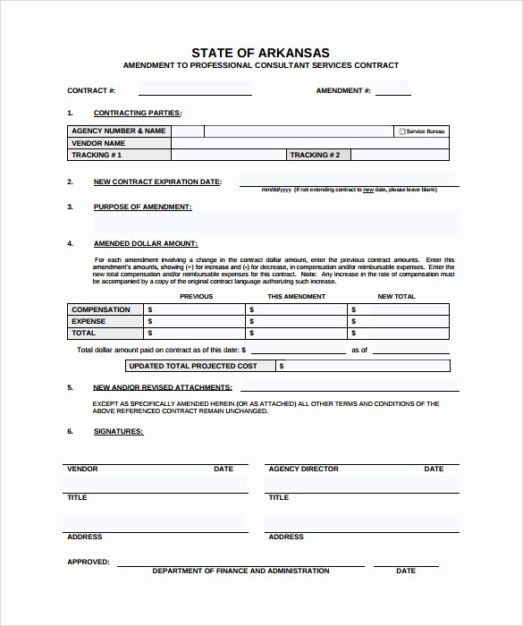 Amendment to Contract Template Inspirational Sample Contract Amendment Template 11 Documents In Pdf