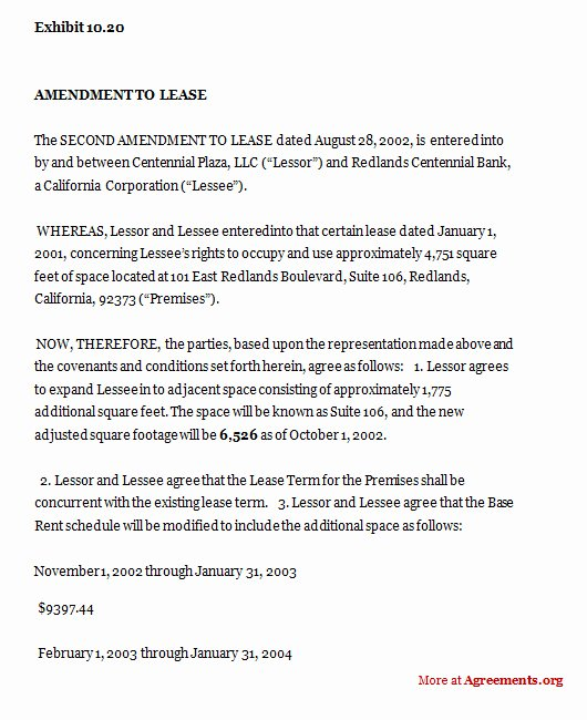 Amendment to Contract Template Lovely Amendment to Construction Department Lease Sample