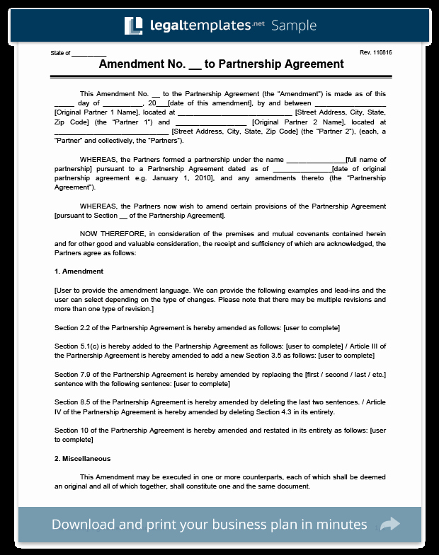 Amendment to Contract Template Lovely Create An Amendment to A Partnership Agreement