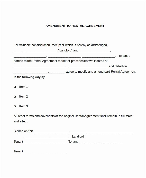 Amendment to Contract Template Luxury Lease Amendment form 10 Free Documents In Pdf Doc