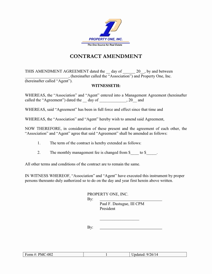 Amendment to Contract Template Unique Contract Amendment In Word and Pdf formats