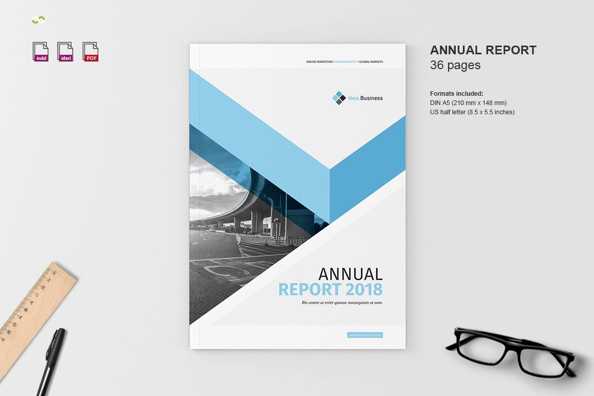 Annual Report Design Template Awesome Annual Report 2018 Brochure Templates Creative Market