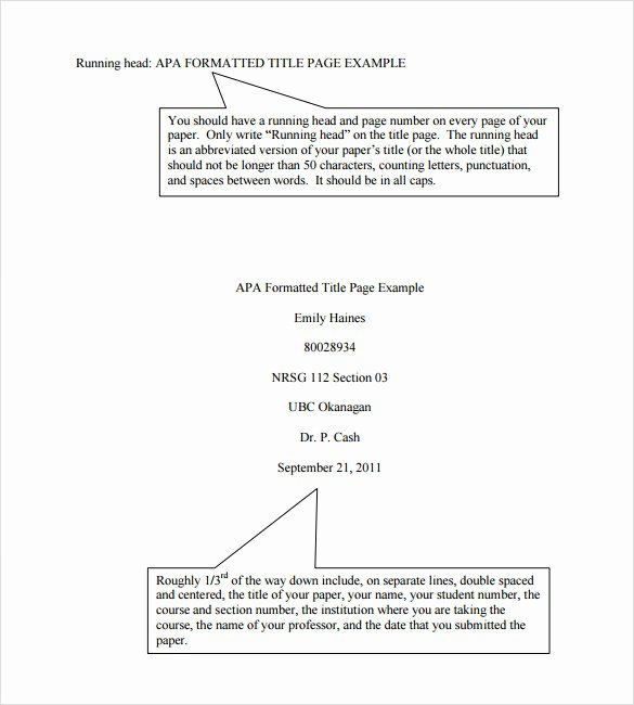 Apa format Template Download Lovely 7 Apa format Title Page Templates