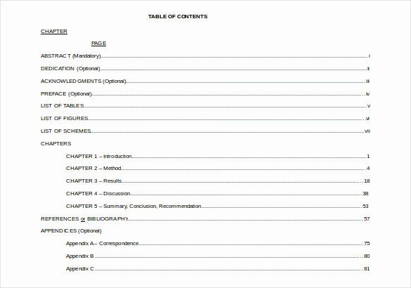 Apa format Template Download New 24 Table Of Contents Pdf Doc
