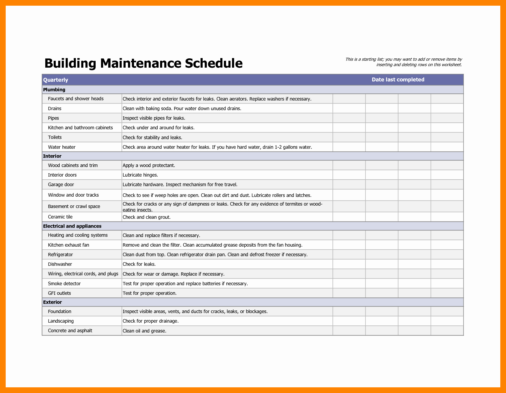 Apartment Maintenance Checklist Template Beautiful Apartment Building Preventive Maintenance Checklist