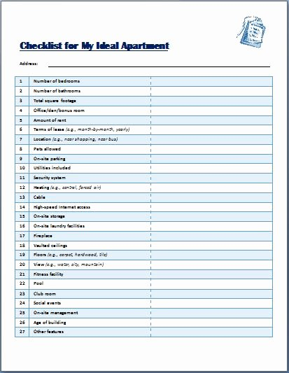 Apartment Maintenance Checklist Template Luxury Ideal Apartment Selecting Checklist Template