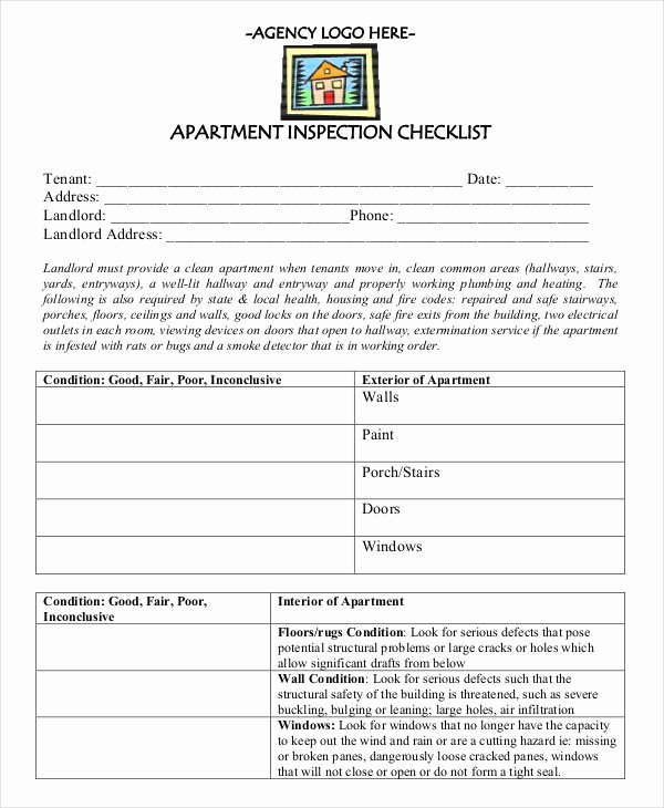 Apartment Maintenance Checklist Template New New Apartment Checklist 9 Free Word Pdf Documents
