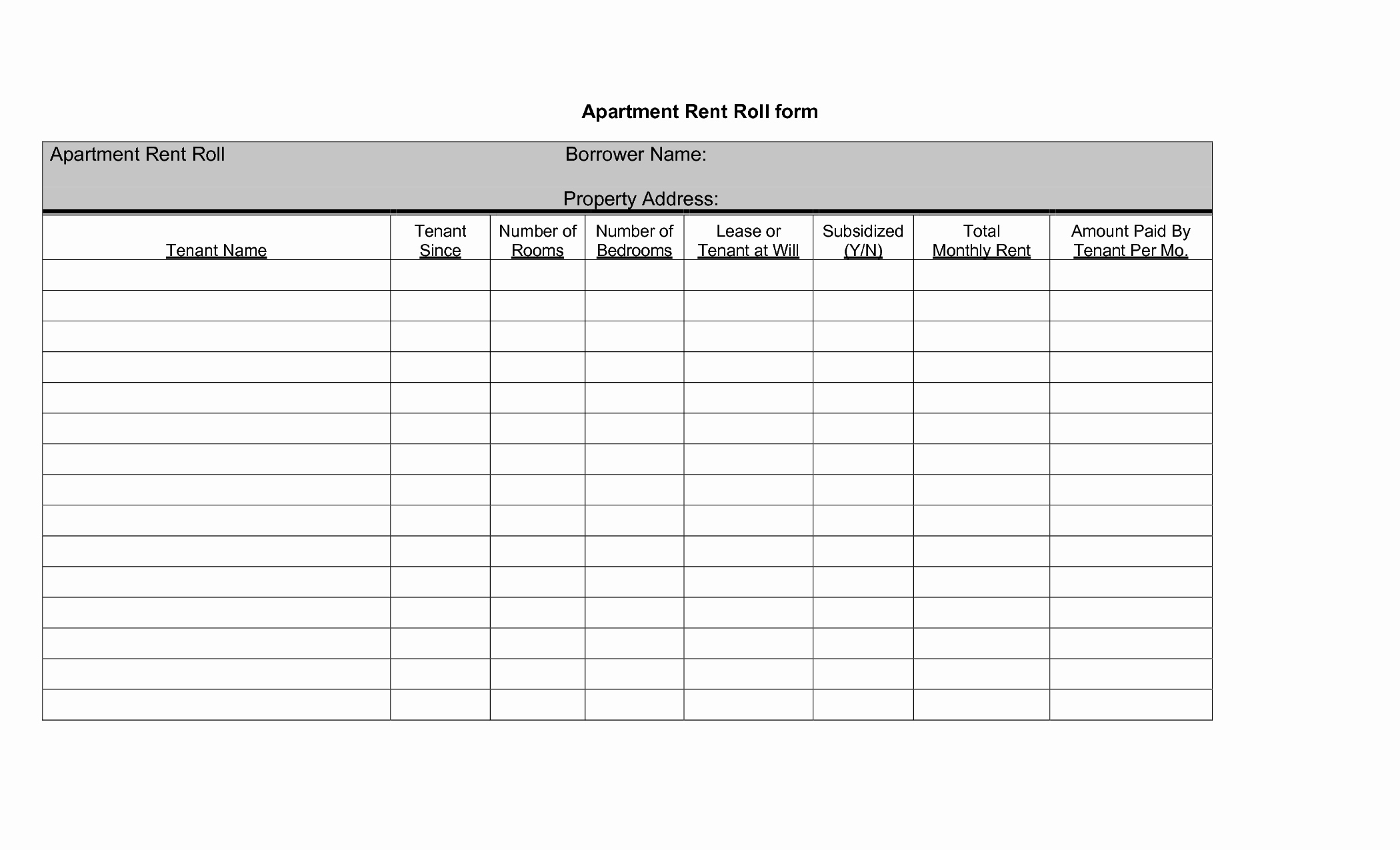 Apartment Rent Roll Template Beautiful form Rent Roll form