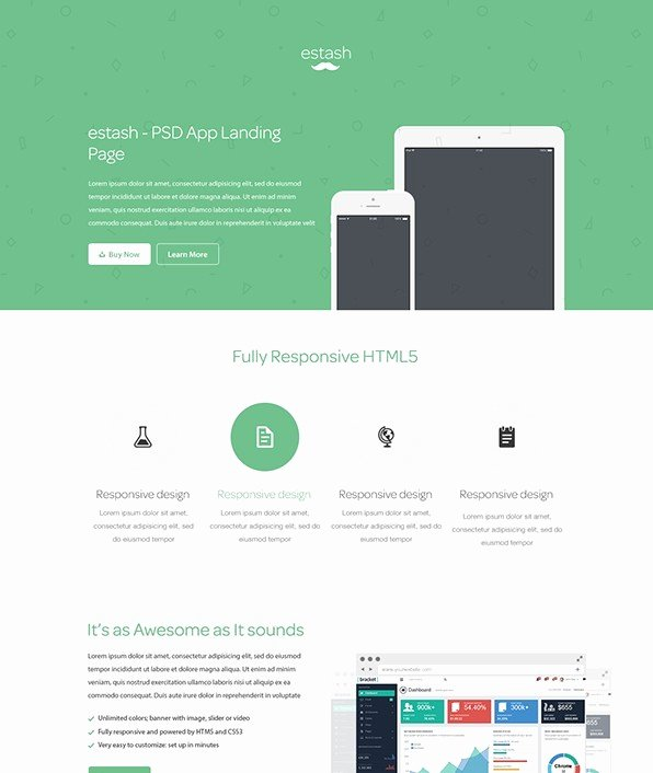App Landing Page Template Beautiful Free Estash App Landing Page Template Psd Titanui
