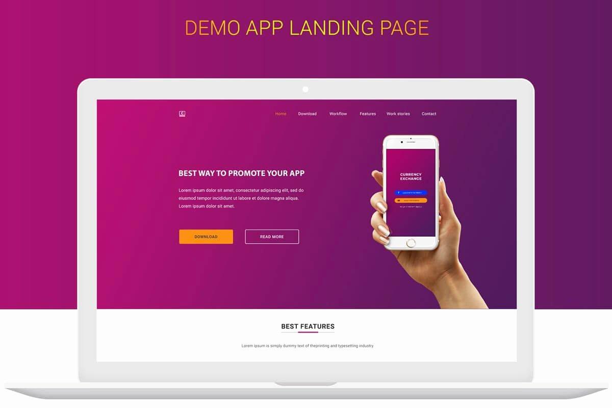 App Landing Page Template Best Of Free Money Exchange App Landing Page Design Psd