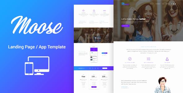 App Landing Page Template Best Of Moose Modern Landing Page HTML Template by Lumberjacks