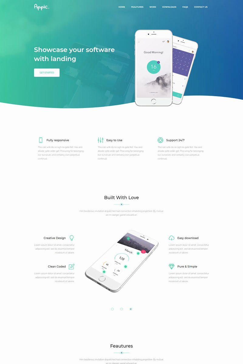App Landing Page Template Elegant Appic Mobile App Landing Page Template