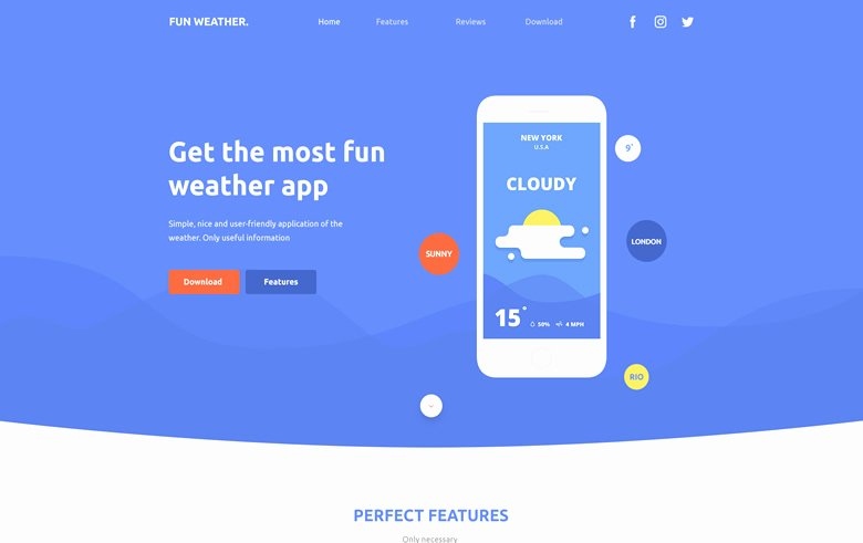 App Landing Page Template Fresh Weather Apps Landing Page Free Bootstrap Template