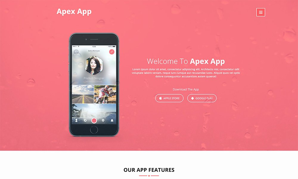 App Landing Page Template Lovely Apex App App Landing Page Template