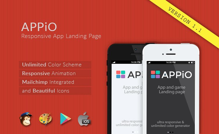 App Landing Page Template Lovely Appio Responsive HTML5 App Landing Page Template