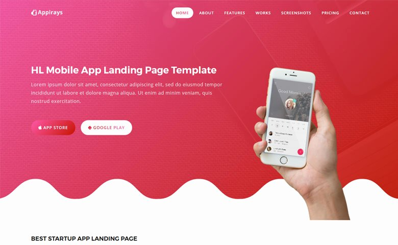 App Landing Page Template Lovely Appirays Free HTML5 App Landing Page Design Template