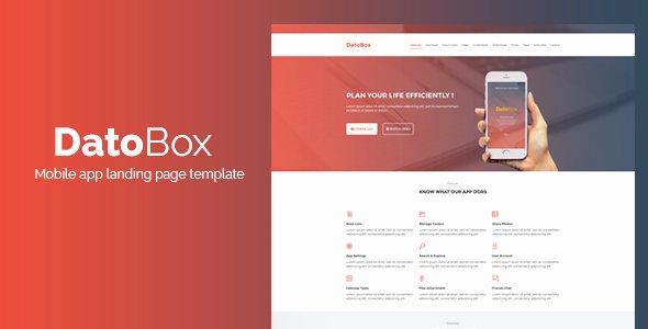App Landing Page Template Unique Datobox Mobile App Landing Page Template by Ghssalem