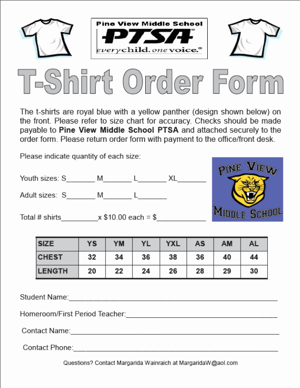 Apparel order form Template Awesome Tshirt order forms Find Word Templates