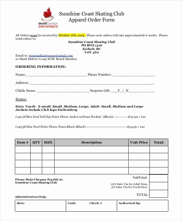 Apparel order form Template Best Of 12 Apparel order forms Free Sample Example format