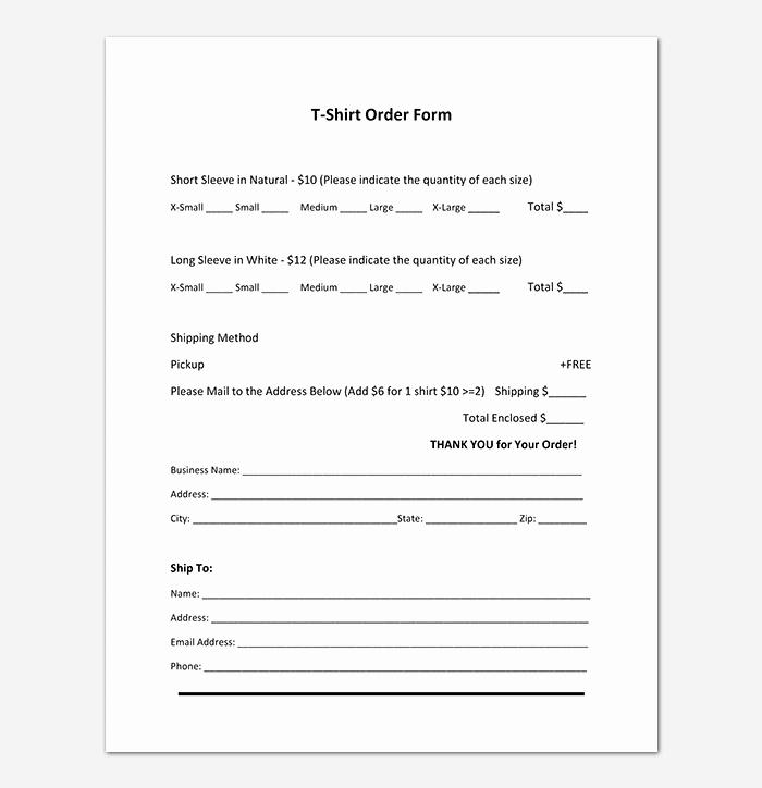 Apparel order form Template Elegant T Shirt order form Template 17 Word Excel Pdf