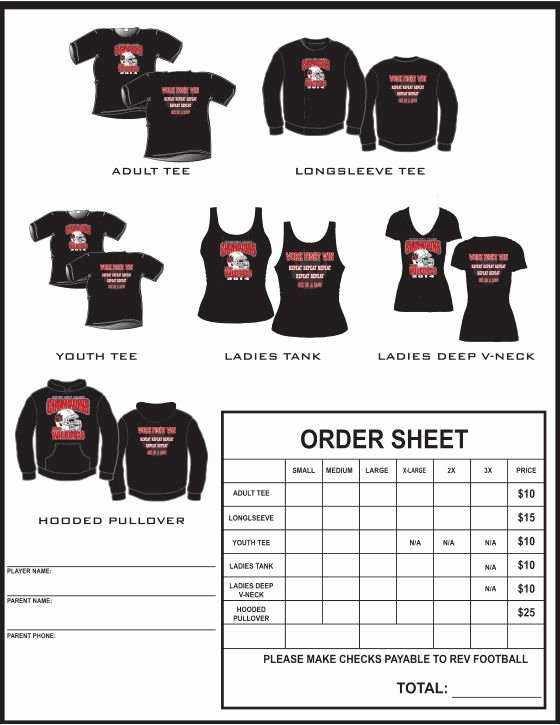 Apparel order form Template Luxury Example T Shirt order form Google Search
