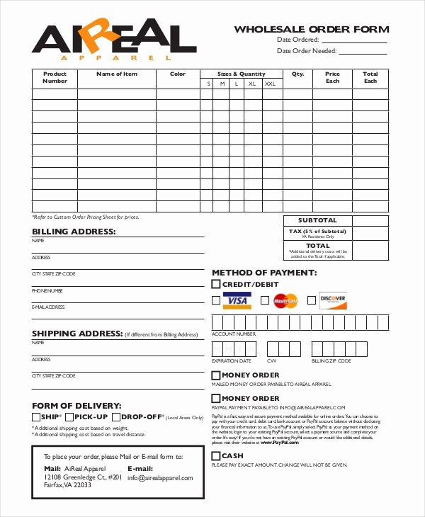 Apparel order form Template New 12 Apparel order forms Free Sample Example format