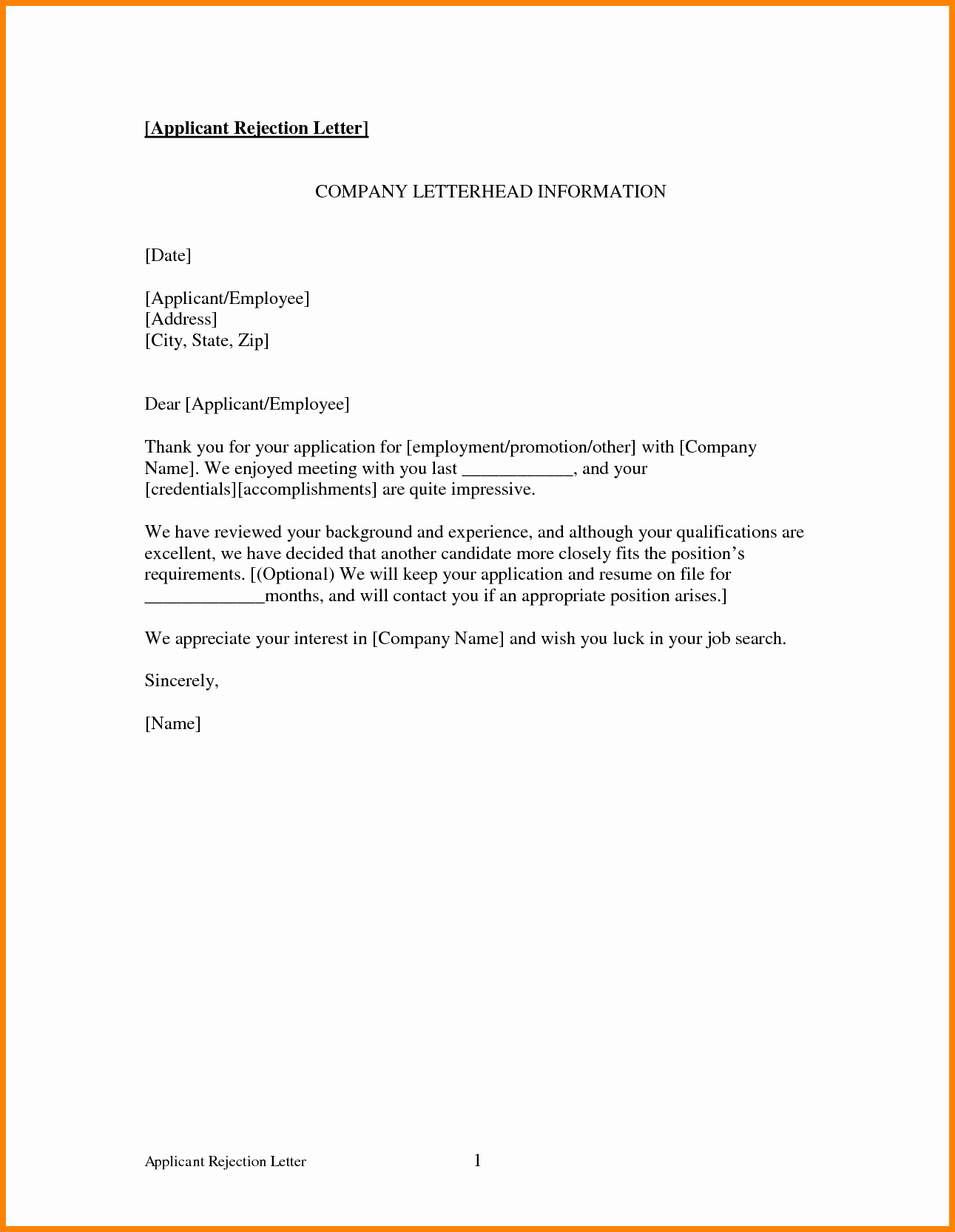Application Rejection Letter Template Awesome 16 Job Rejection Letter Sample to Applicant