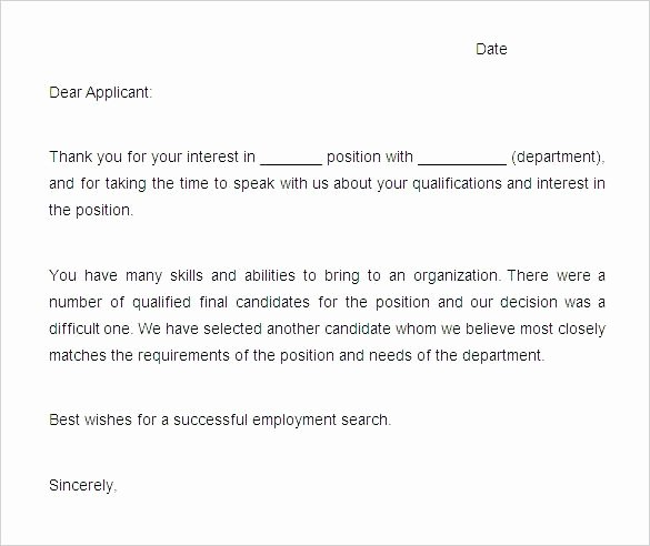 Application Rejection Letter Template Best Of Rejection Letters Template Hr Templates Free Premium