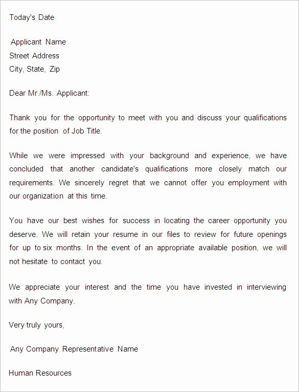 Application Rejection Letter Template Inspirational 27 Rejection Letters Template Hr Templates