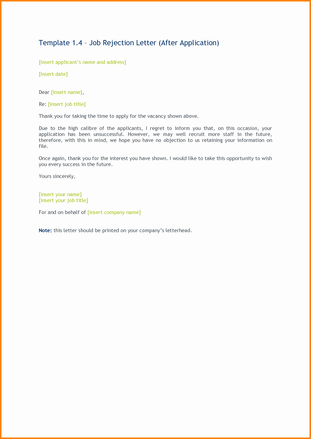 Application Rejection Letter Template Inspirational 5 Application Rejection Letter