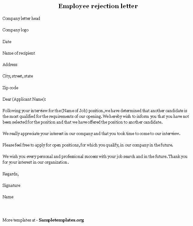 Application Rejection Letter Template Inspirational Sample Rejection Letter to Applicant after Interview