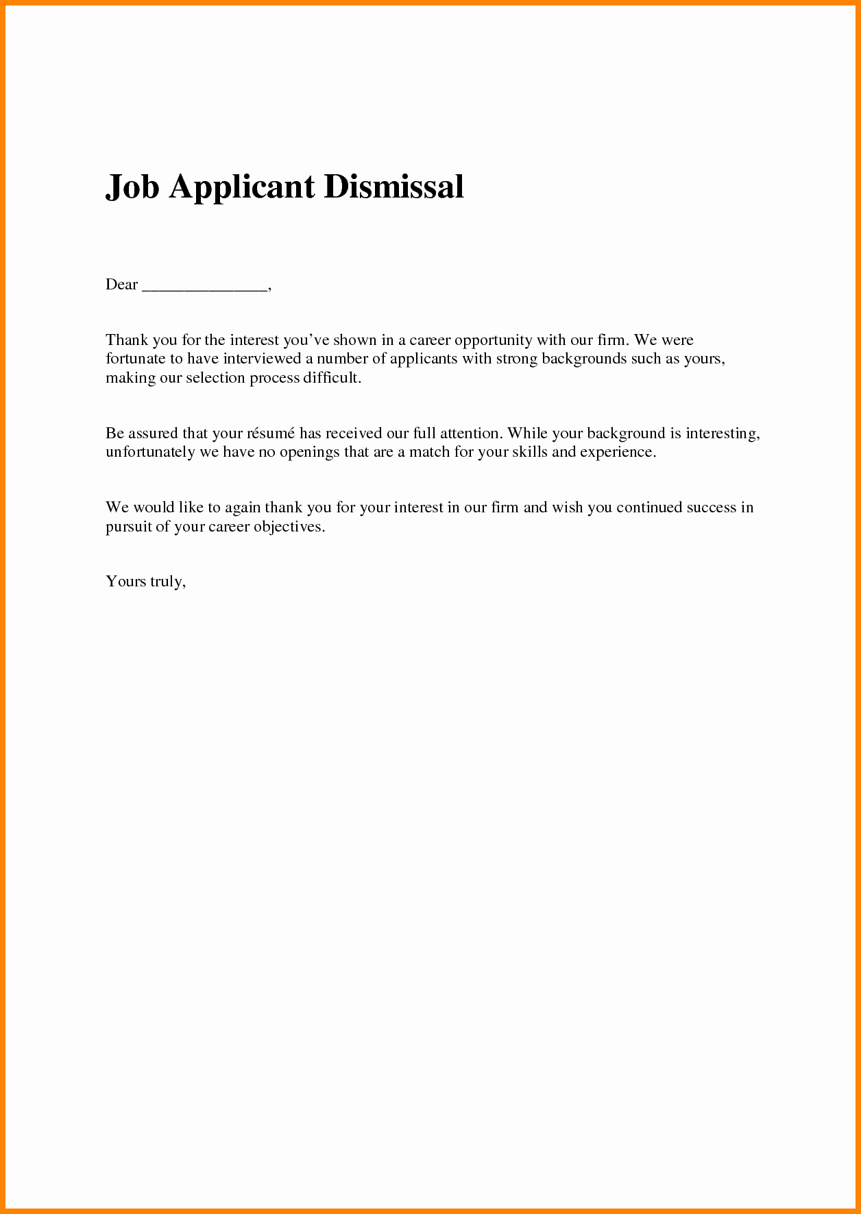 Application Rejection Letter Template Lovely 16 Job Rejection Letter Sample to Applicant