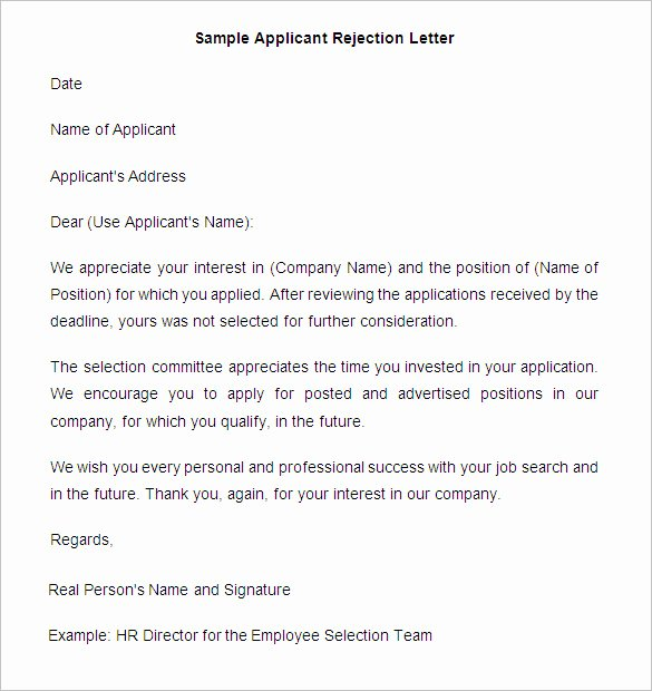 Application Rejection Letter Template Lovely 27 Rejection Letters Template Hr Templates