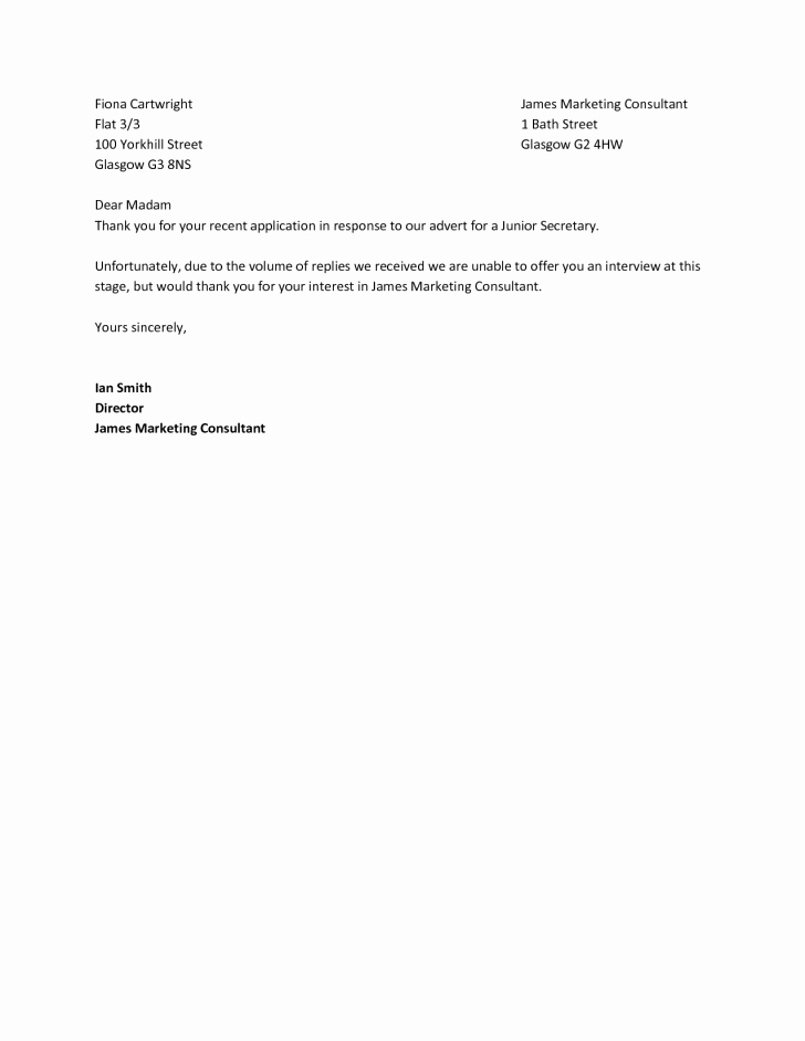 Application Rejection Letter Template Lovely Letter Rejection Letter Sample