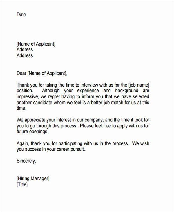 Application Rejection Letter Template Luxury 9 Job Application Rejection Letters Templates for the