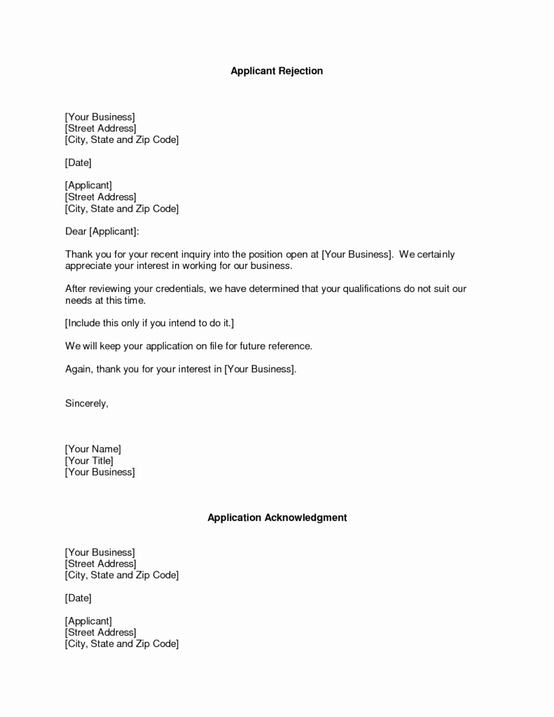 Application Rejection Letter Template Luxury Refusal Letter Templates