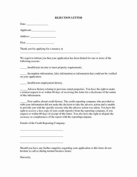 Application Rejection Letter Template New 13 Best Rental Application Rejection Letter 5