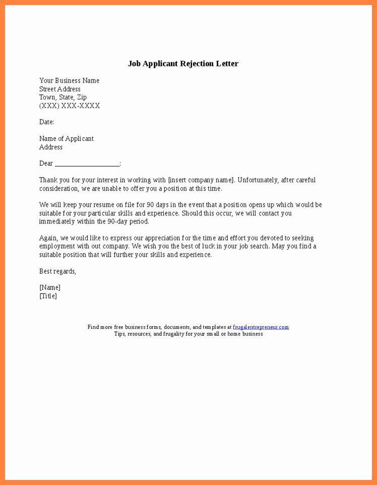 Application Rejection Letter Template New 5 Rejection Letter for Job